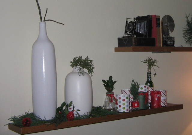 DIY Jar Candles on Christmas Shelf