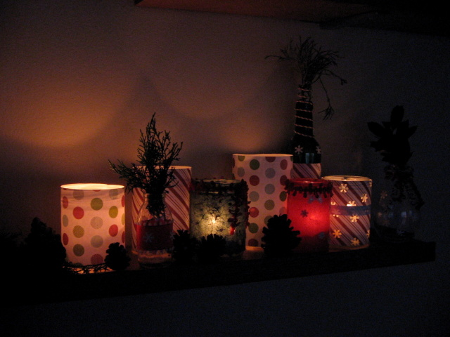 DIY Recycled Jar Christmas Candles