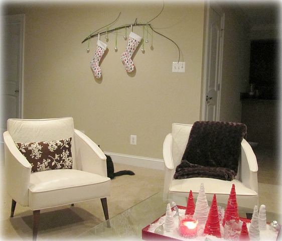 no mantel for stockings branch out the borrowed abodethe borrowed abode. Black Bedroom Furniture Sets. Home Design Ideas