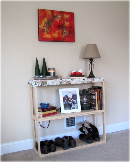 create entryway with shelf unit