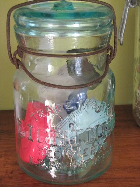 Antique Glass Jar Sewing Storage