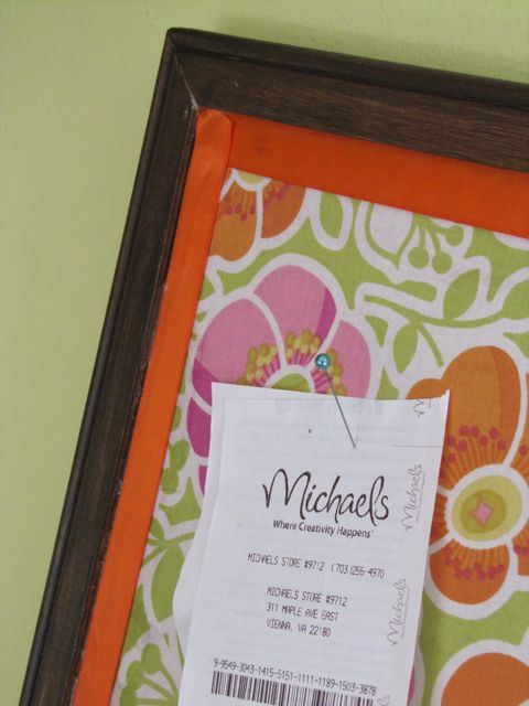 Pin for fabric covered cork board