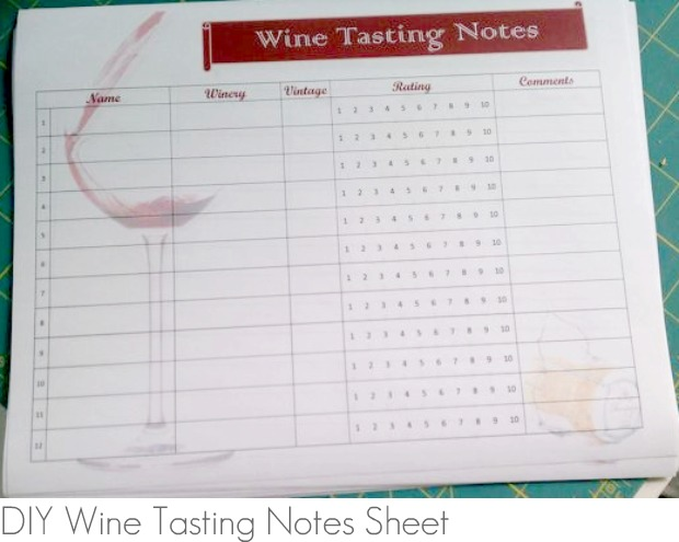 DIY Wine Tasting Notes Sheet