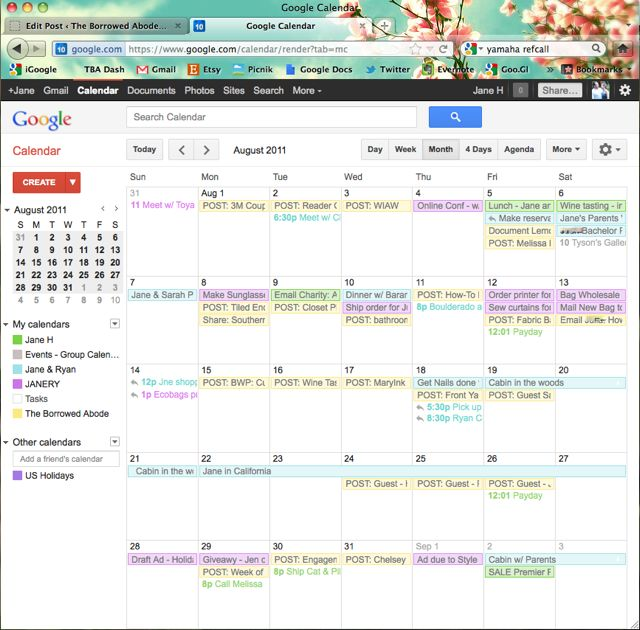 Google Calendar Business Organization