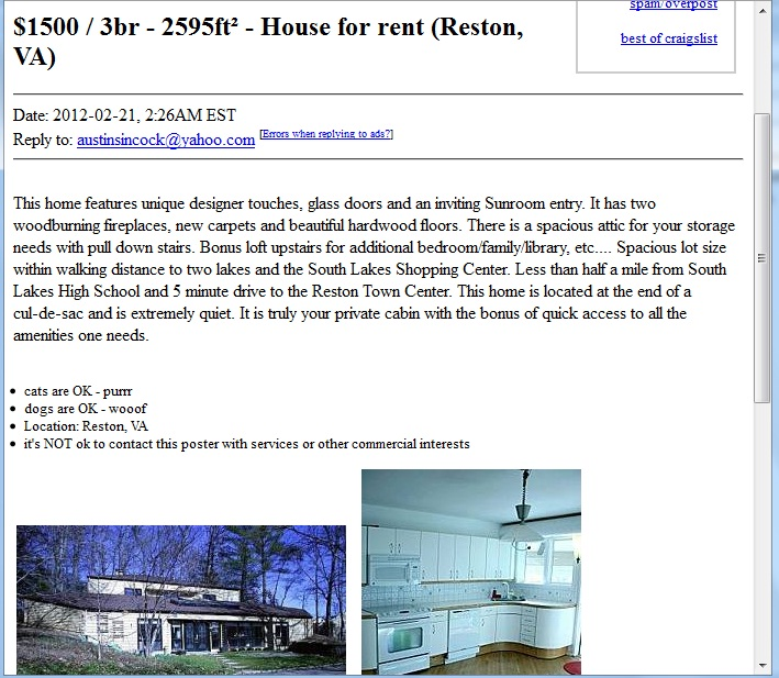Craigslist Rental Homes Monument Co