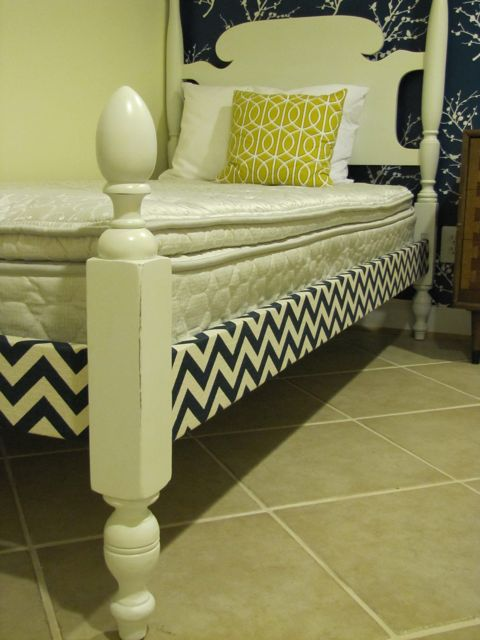 Chevron Upholstered Bed Rails