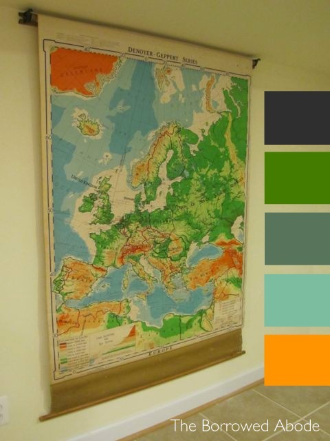 Vintage Map Basement Color Palette