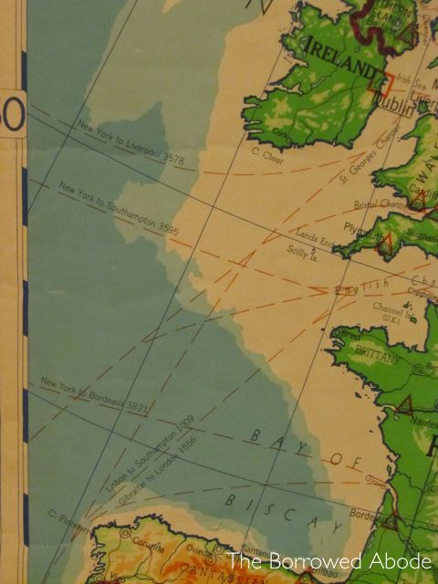 Vintage Map Detail Ship Routes