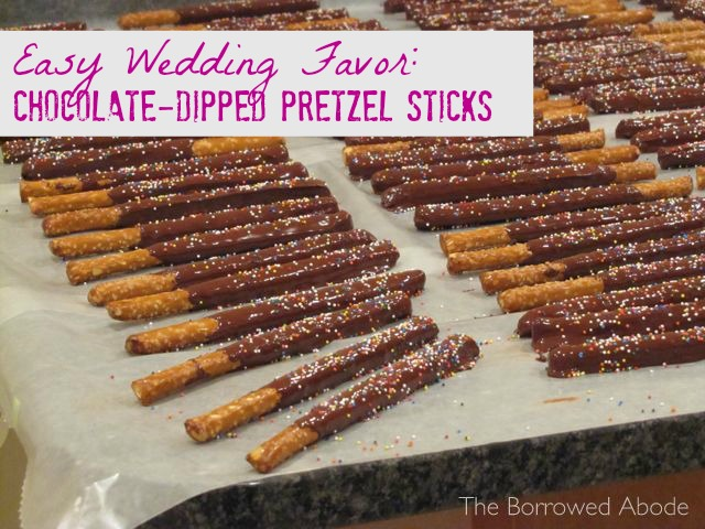 Chocolate Dipped Pretzel Sticks Wedding Favor