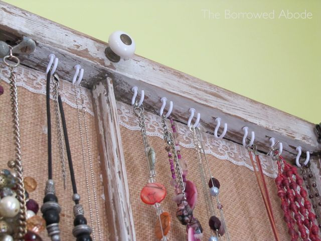 Cup Hooks for Necklaces in Window Frame