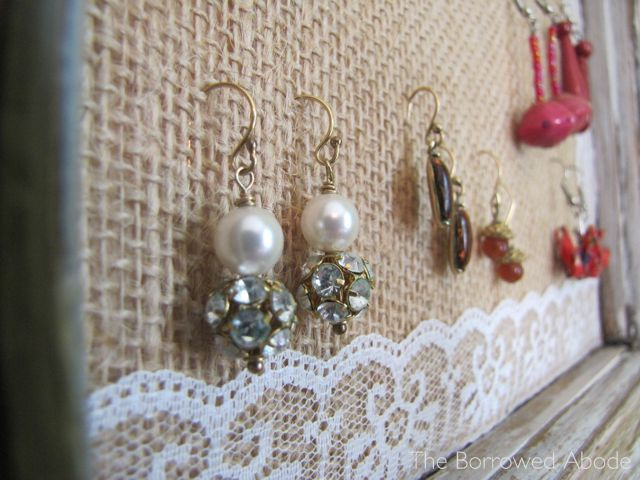 Hang Earrings From Burlap Window Frame Jewelry Display