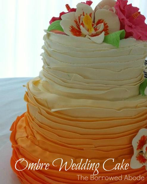 Sunset Ombre Ruffle Wedding Cake by Blondies in North Beach, MD