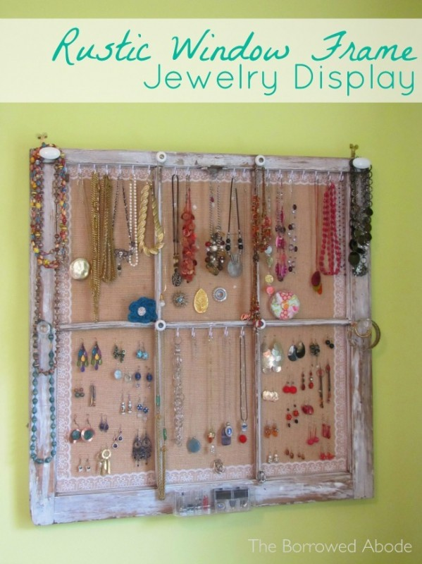 Upcycled Window Frame Jewelry Organizer