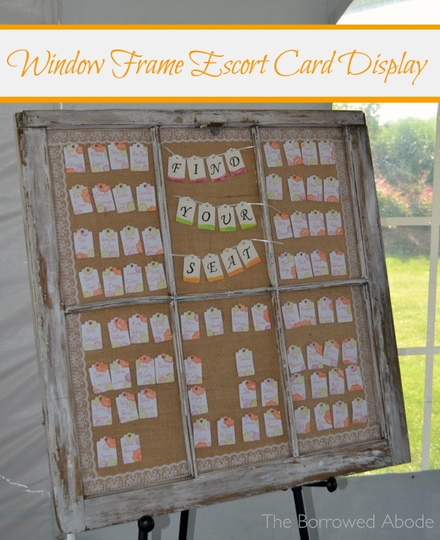 Rustic Window Frame Escort Card Display