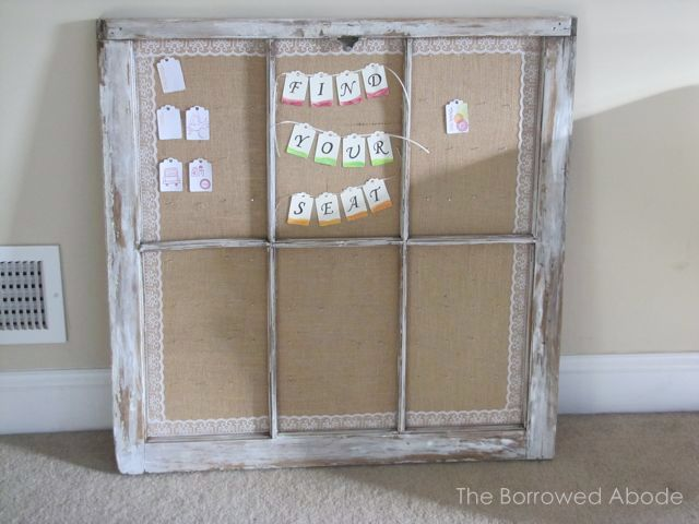 Escort Card Display using Rustic Window Frame