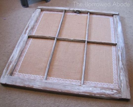 Window Frame Escort Card Burlap Lace