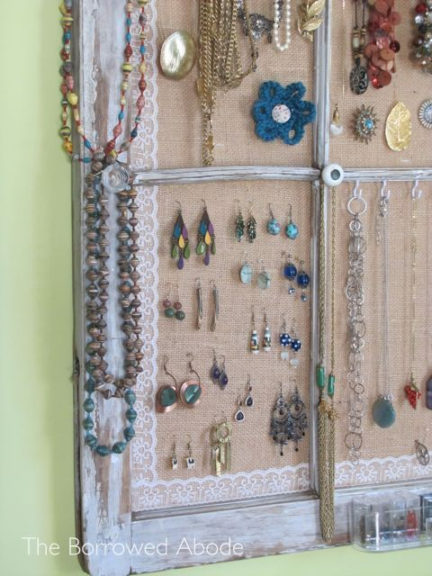 Window Frame Jewelry Display with Knobs