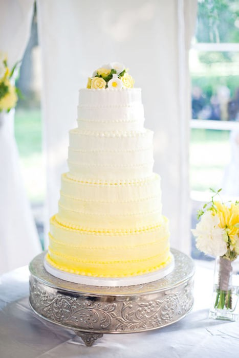 Yellow Ombre Wedding Cake via Style Me Pretty