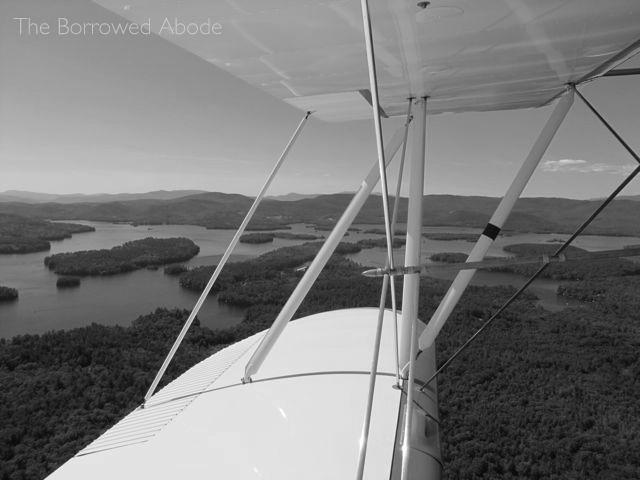 Black White Biplane Aerial Photo Lake Winnipesaukee