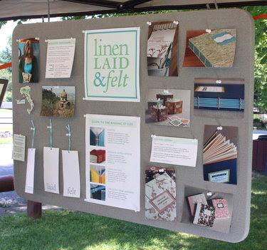 LinenLaidandFelt_tack board Bookbinding Etsy Street Team