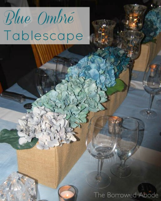 Blue Ombre Tablescape with DIY Burlap Planter Boxes | The Borrowed Abode