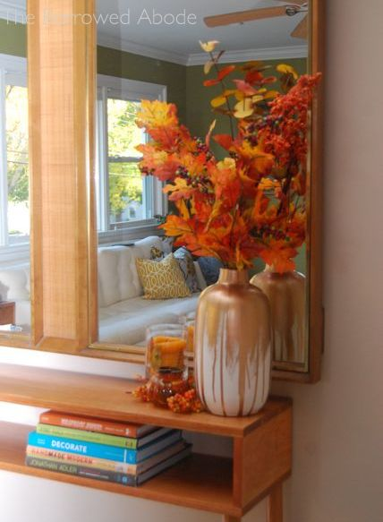 Fall Decor Gold Leaf Vase | The Borrowed Abode