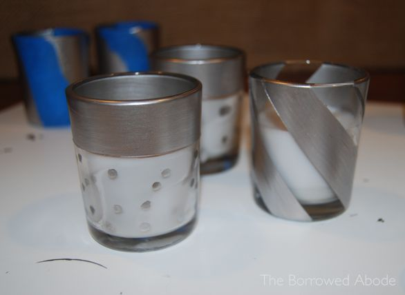 Silver Liquid Leaf Painted Votive Candles | The Borrowed Abode