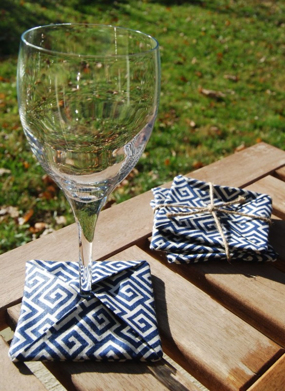 Waterproof Coasters by Janery Blue Greek Key Pattern