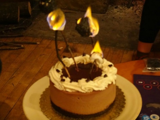 Cake Flaming Marshmallow Candles | TheBorrowedAbode.com