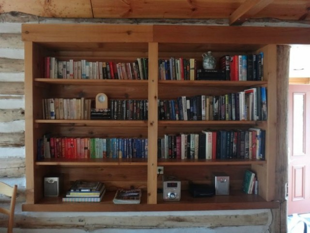 Cabin PA Bookshelves Arranged | TheBorrowedAbode.com