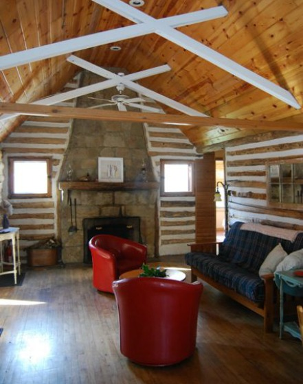 Log Cabin Fireplace Ohiopyle PA | TheBorrowedAbode.com