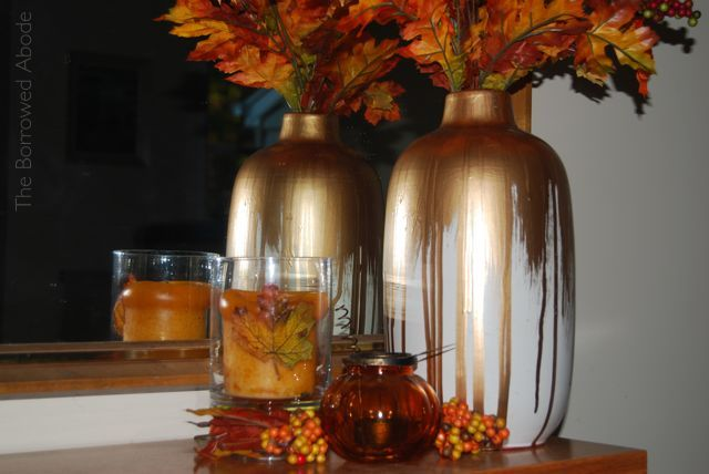 Fall Decor Gold Dipped Vase | The Borrowed Abode
