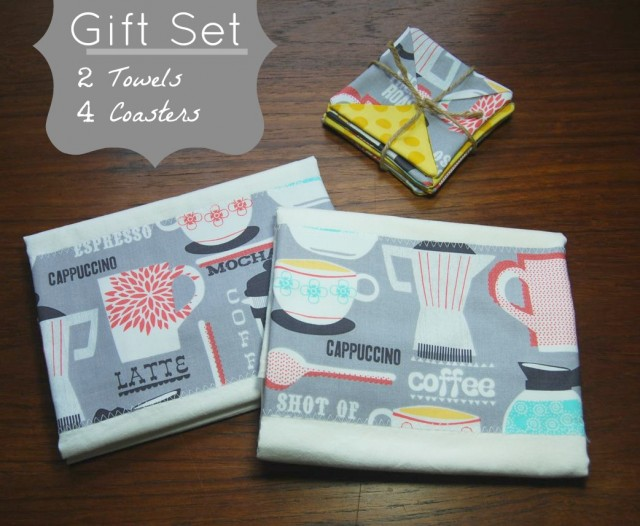 Coaster and Flour Sack Towel Gift Set by ShopJanery on Etsy