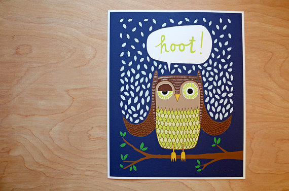 Hoot Owl Giclee Print Funnelcloud on Etsy