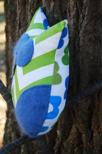 Green Chevron Blue Cashmere Plush Owl by ShopJanery on Etsy