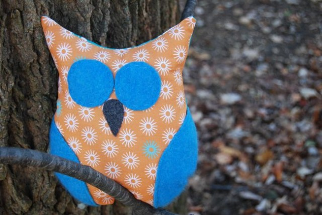 Blue Orange Starburst Plush Owl by ShopJanery on Etsy