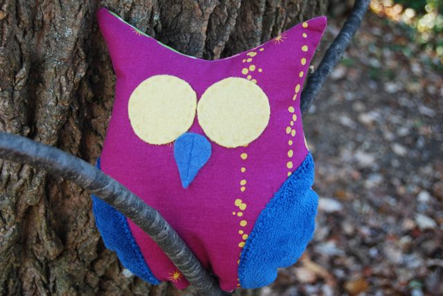Magenta Blue Plush Owl by ShopJanery on Etsy