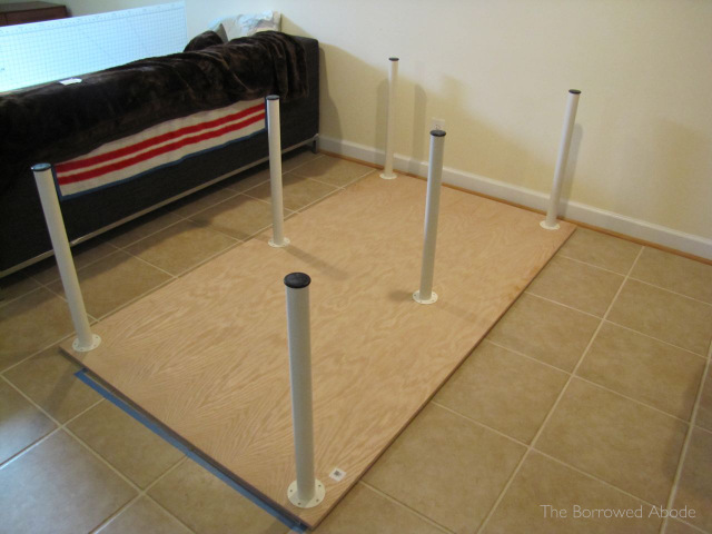 Attaching Ikea Legs to Sewing Table Plywood | TheBorrowedAbode.com