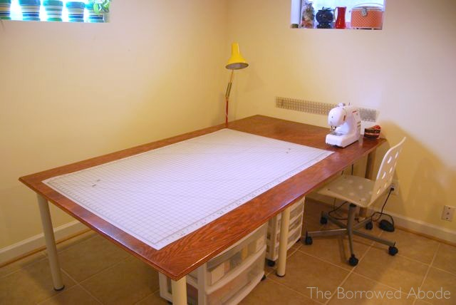 Hand Built Sewing Cutting Table | The Borrowed Abode
