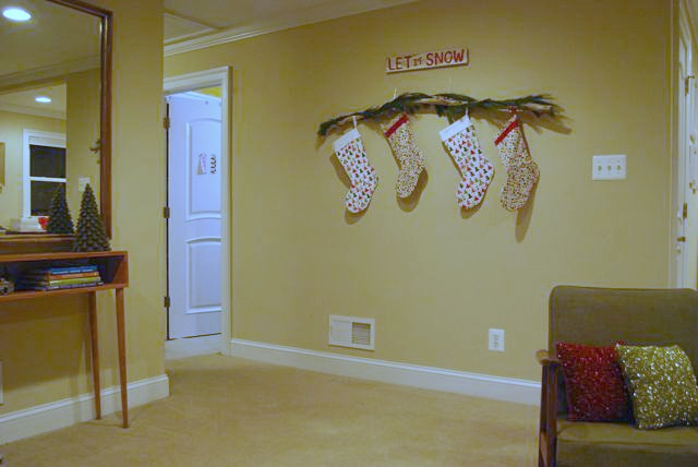 Holiday Stocking Branch for Mantel with Garland | The Borrowed Abode