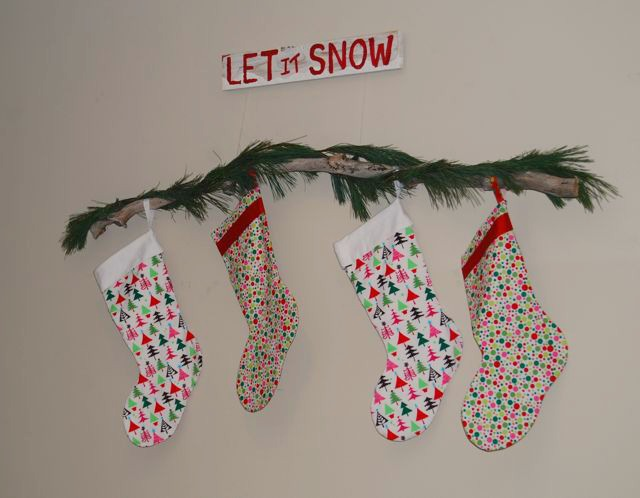 No Mantel Stocking Branch & Winter Sign | The Borrowed Abode