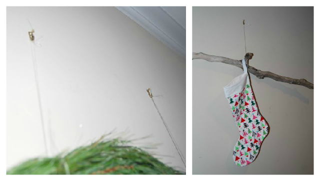 Hang Christmas Stocking Branch on Wall With Fishing Line | The Borrowed Abode