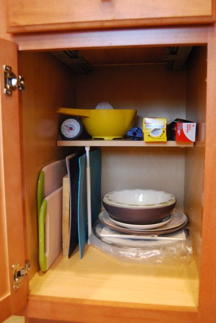 Kitchen Cabinet Cutting Board Storage | The Borrowed Abode