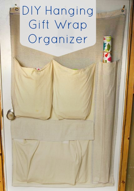 DIY Hanging Gift Wrap Organizer | The Borrowed Abode