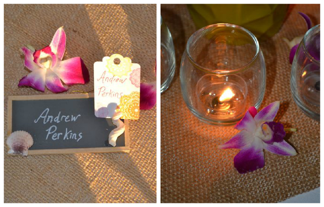 Burlap Orchid Wedding Tables  | The Borrowed Abode