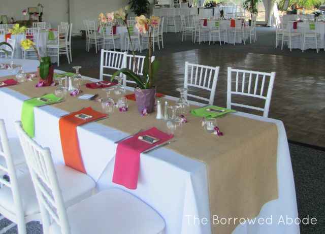 Burlap Runners Caribbean Colors Wedding Tables  | The Borrowed Abode