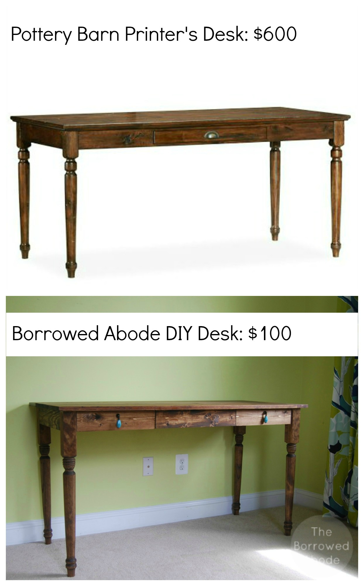 DIY Pottery Barn Desk | The Borrowed Abode