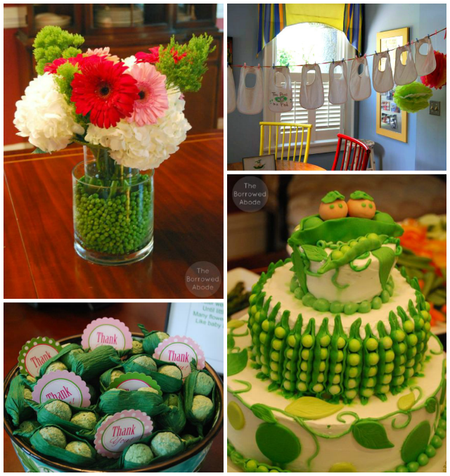 Peas in a pod baby shower for twins the borrowed for Baby shower decoration ideas for twins