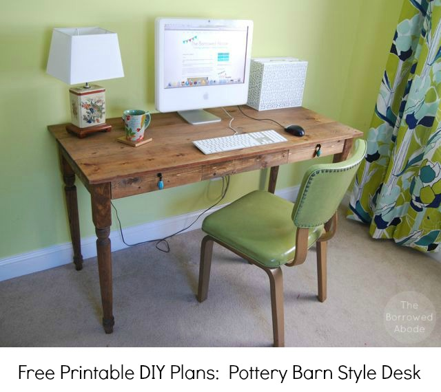 Free Printable DIY Plans Farmhouse Desk | The Borrowed Abode