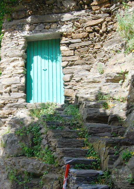 Vernazza Cinque Terre Teal Door | The Borrowed Abode